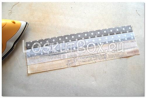 Процесс приклеиванию флизелина к ткани ручек