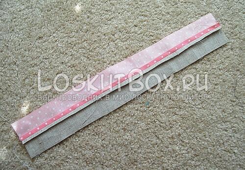 Пришивание лоскутных полосок