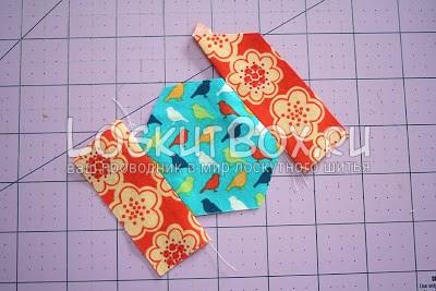 Пришивание двух одинаковых полосок до лоскутного шестиугольника