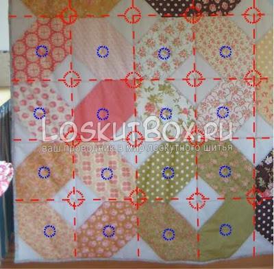 Лоскутное одеяло из 12 квадратных блоков