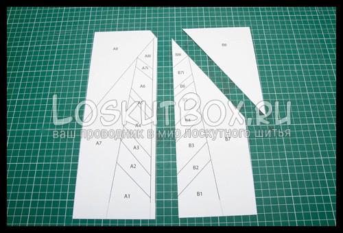 """Шаблон для блока """"Перо"""" лоскутное шитьё по бумаге"""