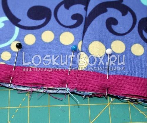 Совмещение основной детали юбки и акцентной ленты