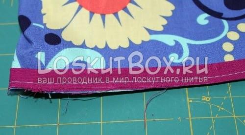 Сшивание основной детали юбки и акцентной ленты