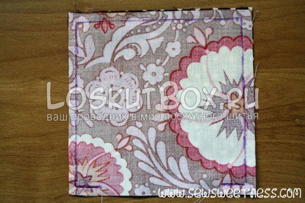 Разметка для сшивания квадратов пуфика