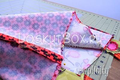 Сшивание основной детали сумки и подкладки