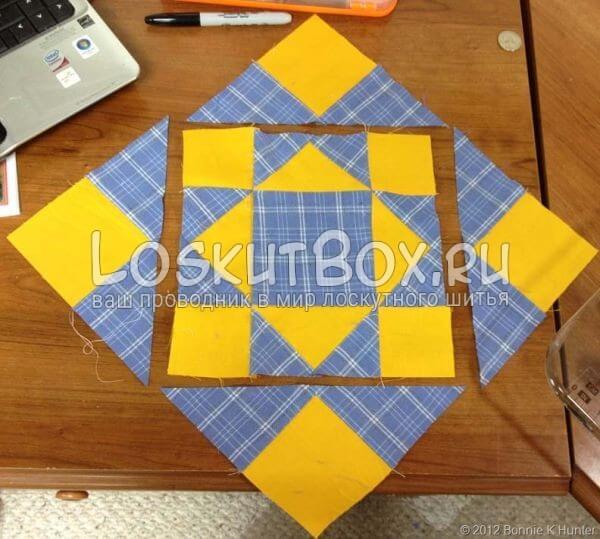 составление конечного блока из квадратов