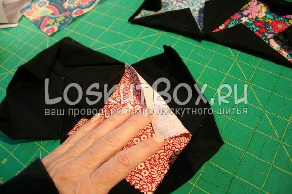 вкладываем ткань в квадраты