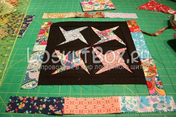 обтачиваем квадрат полосами ткани