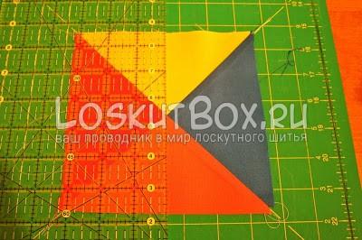 разноцветный квадрат из ткани коврик для резки линейка