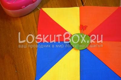 квадрат из ткани круг булавка