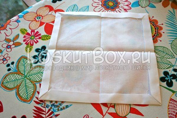 квадрат из ткани сгиб