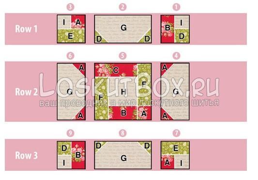 Схема расположения деталей блока