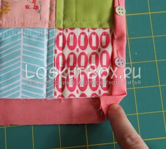 Обработка углов лоскутного одеяла