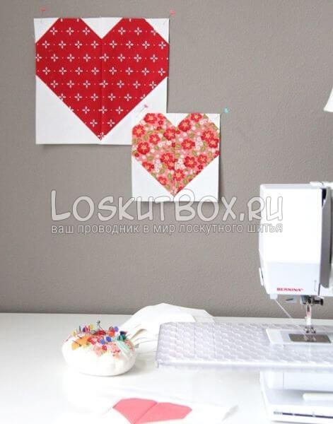 Лоскутные блоки для одеяла в сердечко