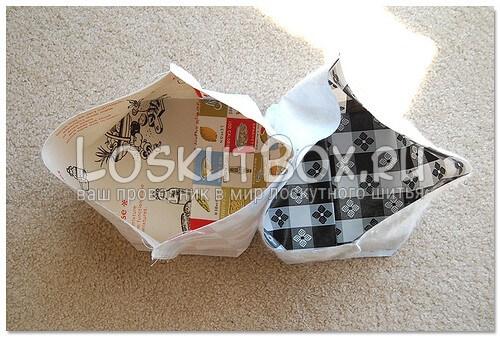 Соединение корпуса сумки с подкладкой