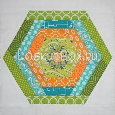 Готовый лоскутный шестиугольник