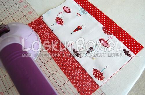 Кладем карман на ткань для подкладки
