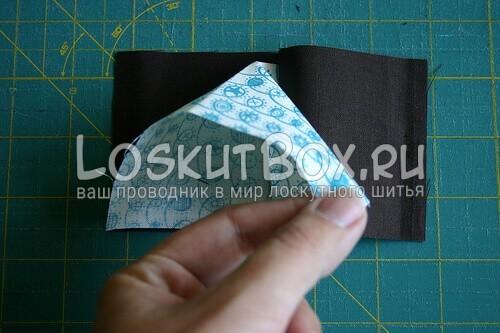 разложите внутреннюю ткань треугольником