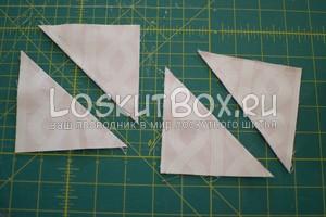 Разрезали квадраты парус-небо по диагонали