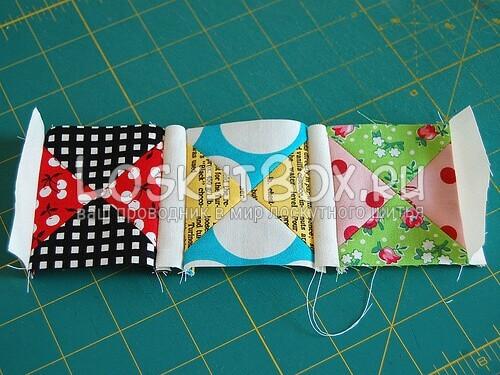 сшивание квадратиков с полосочками