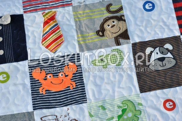 Лоскутное одеяло из детской одежды