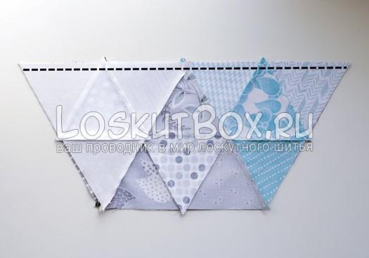 Сшивание шестиугольника. Подушка из треугольников