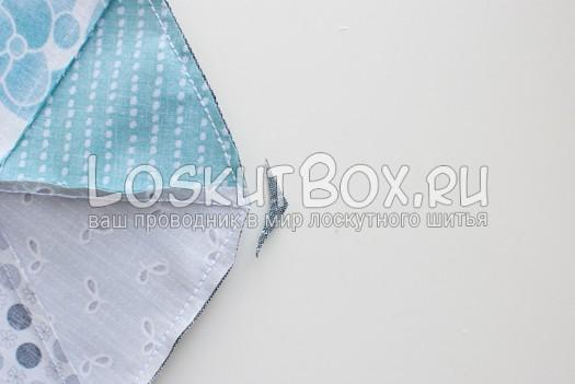 Обрезка припусков на углах. Подушка из треугольников