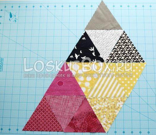 Цветовая схема. Подушка из треугольников