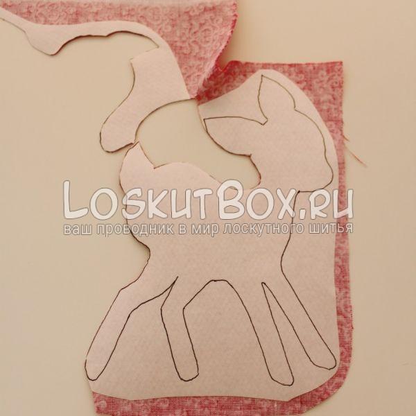 Вырезание картинки из ткани. Аппликация олененок