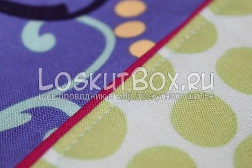 Вид строчки на стыке верхней и нижней частях юбки