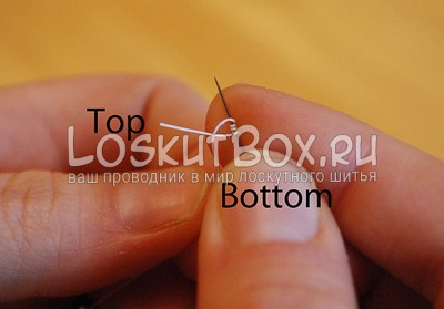 Положение нитей при завязывании узла