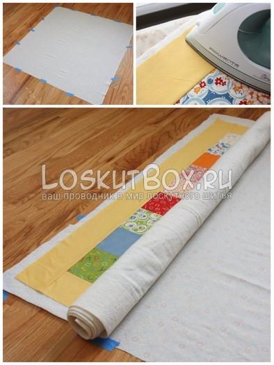 Наметывание. Подготовительный этап стежки одеяла