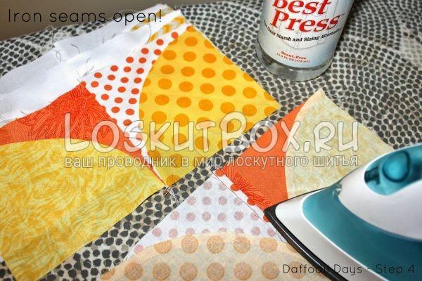 Кусочки ткани и утюг