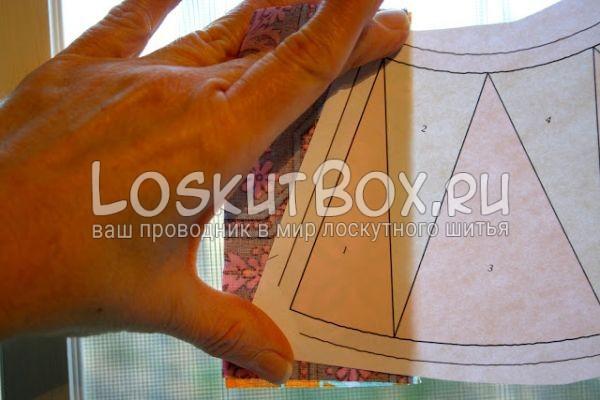 правильное расположение ткани по шаблону
