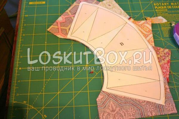 обрежьте ткань по краям шаблона