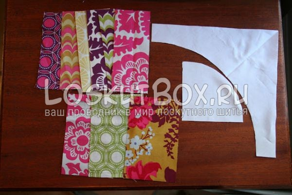 бумажный шаблон и подготовленные ткани