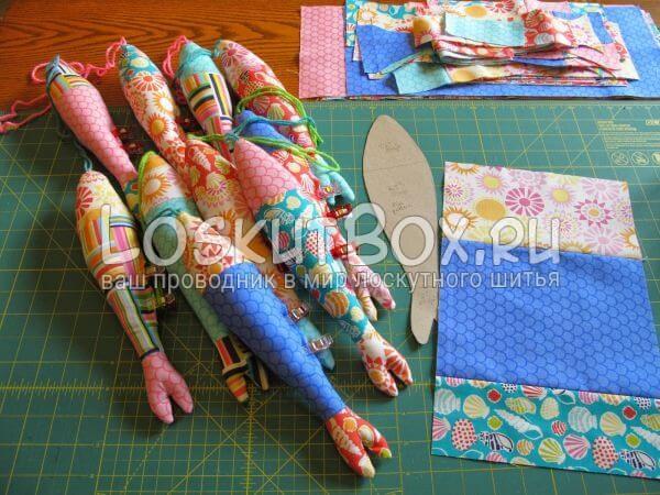 сшейте полосы ткани вместе