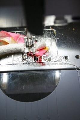 сшивание кончика каната с тканевой лентой