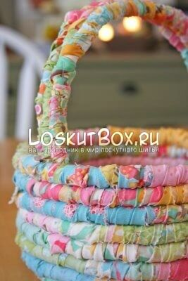 Пасхальная корзина из ткани в стиле пэчворк