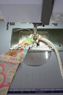 Сшивание ленты из ткани с тонким канатом